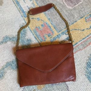 J. Crew Brown Leather Envelope Clutch With Strap